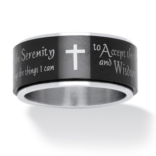 Link to Serenity Prayer Cross Spinner Ring in Black IP Stainless Steel and Stainless Steel Tailore Similar Items in Men's Jewelry