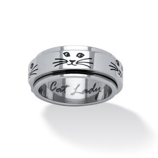 Cat Lady Spinner Ring in Black IP Stainless Steel Tailored