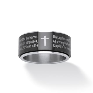 Lord's Prayer Spinner Ring in Black Ion-Plated Stainless Tailored