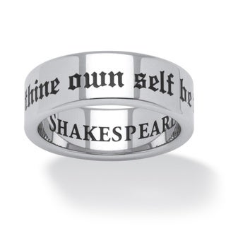 PalmBeach To Thine Own Self Be True Shakespeare Ring in Black Ion-Plated Stainless Steel Tailored