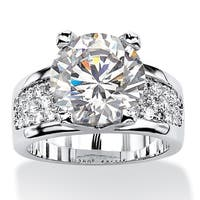 Platinum-plated Cubic Zirconia Engagement Ring - White