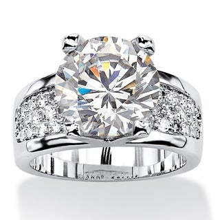 Platinum-plated Cubic Zirconia Engagement Ring - White (More options available)