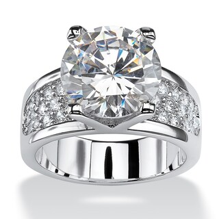 Platinum Plated Brass Round Cubic Zirconia Ring (More options available)