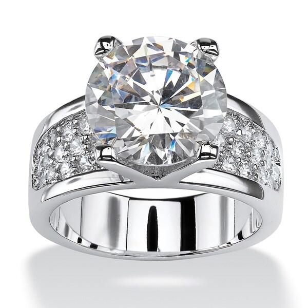 Platinum Plated Brass Round Cubic Zirconia Ring