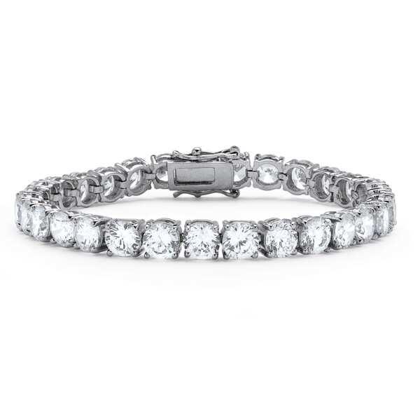 27 TCW Round Cubic Zirconia Tennis Bracelet Platinum Plated Glam CZ
