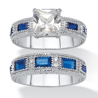 2.42 TCW Round Cubic Zirconia and Blue Crystal Bridal Set Platinum Plated Classic CZ