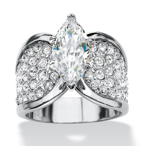 Platinum-plated Cubic Zirconia and Round Crystals Engagement Ring - White