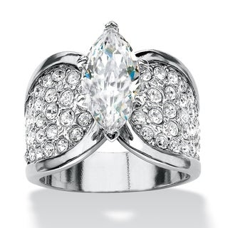 4.59 TCW Marquise-Cut and Pave Cubic Zirconia Engagement Ring Platinum-Plated Glam CZ - White