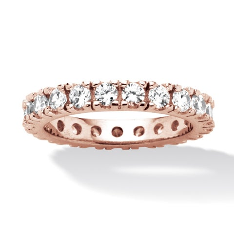 Rose Gold-plated Sterling Silver Cubic Zirconia Eternity- Bridal Ring - White