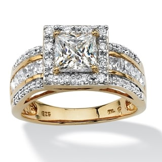 2.20 TCW Princess-Cut Cubic Zirconia Square Halo Ring in 18k Gold over Sterling Silver Gla
