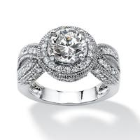 2.85 TCW Round Cubic Zirconia Halo Twisted Shank Ring in Platinum over Sterling Silver Cla