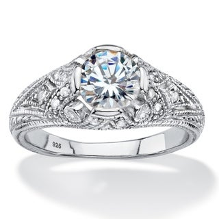 Link to Sterling Silver Cubic Zirconia Vintage Style Engagement Ring - White Similar Items in Rings