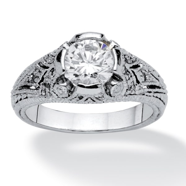 1.75 TCW Round Cubic Zirconia Vintage Style Ring in Sterling Silver Classic CZ