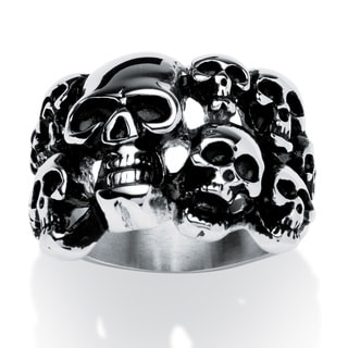 PalmBeach Men's Cluster Skull Ring in Antiqued Stainless Steel Sizes 9-16