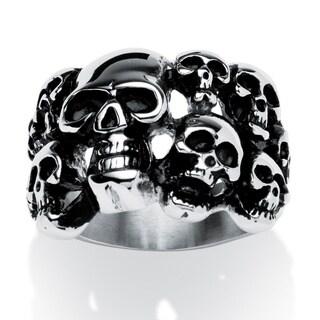 Men's Cluster Skull Ring in Antiqued Stainless Steel Sizes 9-16