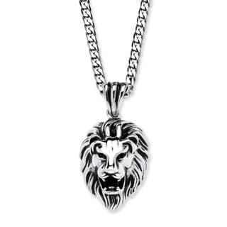 Men's Antiqued Stainless Steel Lion's Head Pendant with 24-inch Chain
