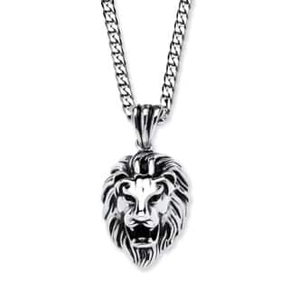 Mens necklaces for less overstock mens antiqued stainless steel lions head pendant with 24 inch chain aloadofball Image collections