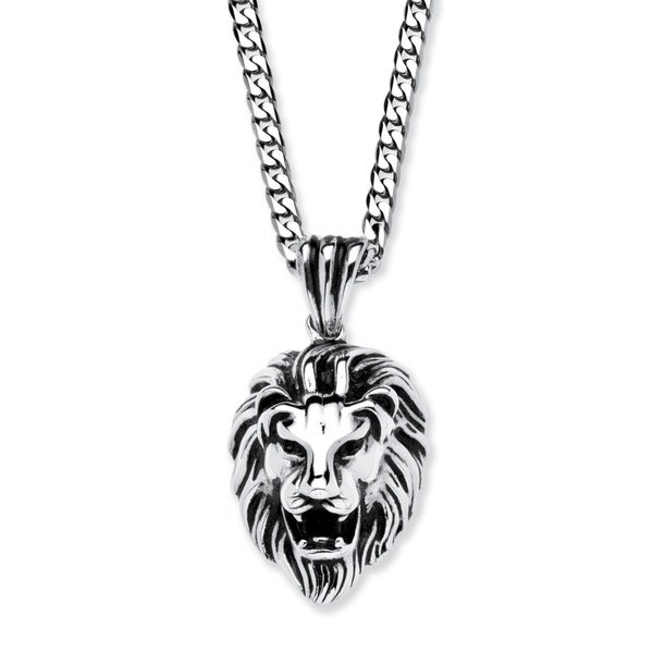 Shop mens antiqued stainless steel lions head pendant with 24 inch menx27s antiqued stainless steel lionx27s head pendant with aloadofball Choice Image