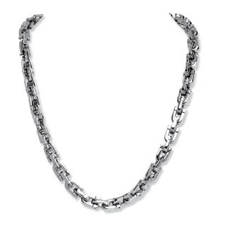 PalmBeach Men's Interlocking Link Chain in Stainless Steel 24""