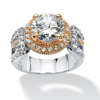 PalmBeach 4.68 TCW Round Cubic Zirconia Engagement Ring Platinum-Plated and Rose Gold-Plated Glam CZ