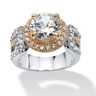 4.68 TCW Round Cubic Zirconia Engagement Ring Platinum-Plated and Rose Gold-Plated Glam CZ
