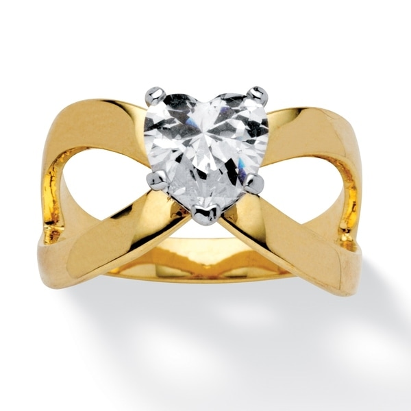 Yellow Gold-plated Cubic Zirconia Infinity Ring - White