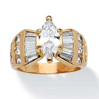 3.69 TCW Marquise-Cut Cubic Zirconia Ring in 14k Gold-Plated Glam CZ