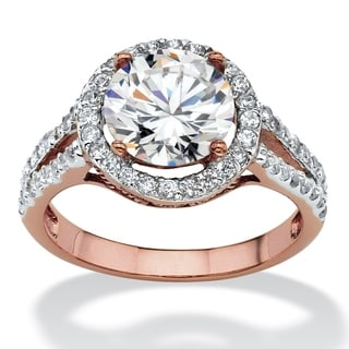 3 TCW Round Cubic Zirconia Halo Double Shank Ring in Rose Gold-Plated Classic CZ