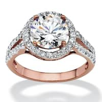 Rose Gold-plated Cubic Zirconia Halo Engagement Ring - White