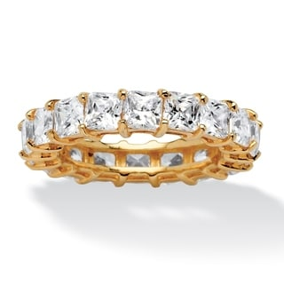 5.40 TCW Princess-Cut Cubic Zirconia Eternity Band in 18k Gold over Sterling Silver Classi