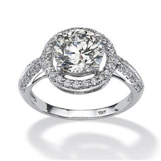 2.38 TCW Round Cubic Zirconia Halo Ring in 10k White Gold Classic CZ