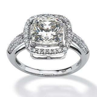 2.74 TCW Princess-Cut Cubic Zirconia Halo Ring in 10k White Gold Classic CZ