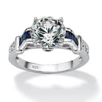 Platinum over Sterling Silver Cubic Zirconia Engagement Ring - Blue/White