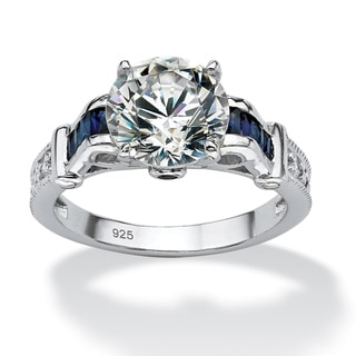 PalmBeach 5.01 TCW Round Cubic Zirconia and Lab Created Sapphire Ring in Platinum over .925 Sterling Silver Classic CZ