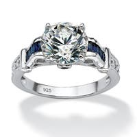 5.01 TCW Round Cubic Zirconia and Lab Created Sapphire Ring in Platinum over .925 Sterling