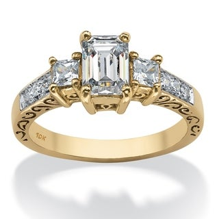 1.27 TCW Emerald-Cut Cubic Zirconia Scroll Ring in 10k Gold Classic CZ