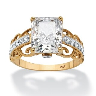 10K Yellow Gold Cubic Zirconia Scroll Engagement Ring - White
