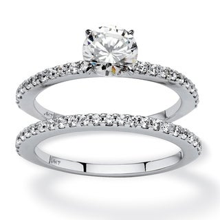 1.72 TCW Round Cubic Zirconia Two-Piece Bridal Set in 10k White Gold Classic CZ