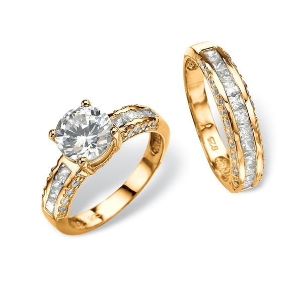 Yellow Gold over Sterling Silver Cubic Zirconia Bridal Ring Set - White. Opens flyout.