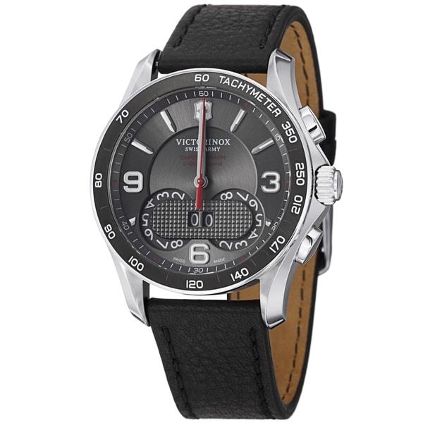 Swiss Army Men's 241616 'Chrono Classic' Grey Dial Black Leather Strap Quartz Watch