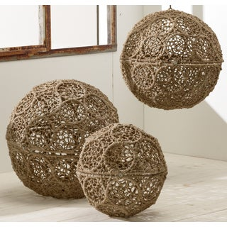 Rustic Jute-wrapped Iron Decorative Ball (Set of 3)