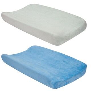 Trend Lab 2-piece Sky Blue and Grey Changing Pad Cover Set