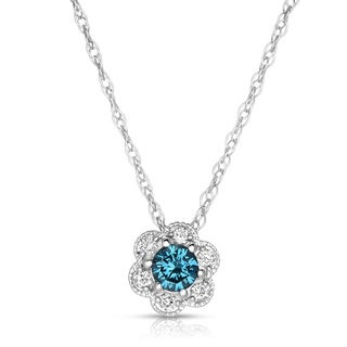Eloquence 10k White Gold 1/2ct TDW Blue Diamond Necklace
