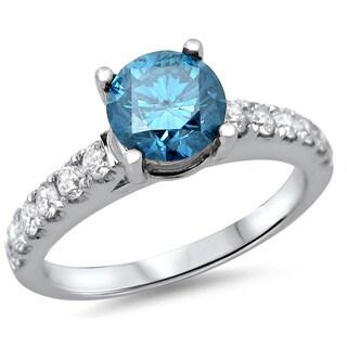 Noori 18k White Gold 1 1/4ct TDW Blue Round Diamond Ring
