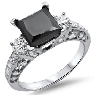 Noori 18k White Gold 2 1/8ct TDW Black Princess-cut Diamond Ring