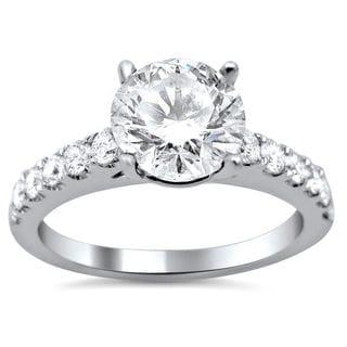 Noori 18k White Gold 1 1/2ct TDW Round Enhanced Center Stone Diamond Engagement Ring (G-H, SI1-SI2)