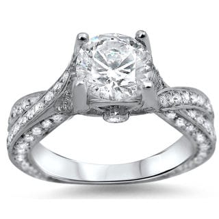 Noori 14k White Gold Clarity-enhanced 1 1/2ct TDW Round Diamond Engagement Ring