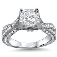 Noori 14k White Gold Clarity-enhanced 1 1/2ct TDW Round Diamond Engagement Ring