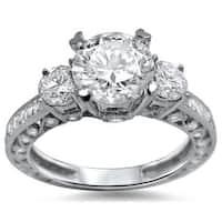 Noori 18k White Gold Enhanced 2 ct TDW 3-stone Round Diamond Engagement Ring