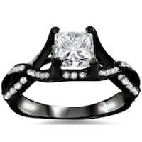 Noori 18k Black Gold 1ct TDW Princess-cut Diamond Engagement Ring